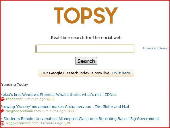 Topsy social media search engine