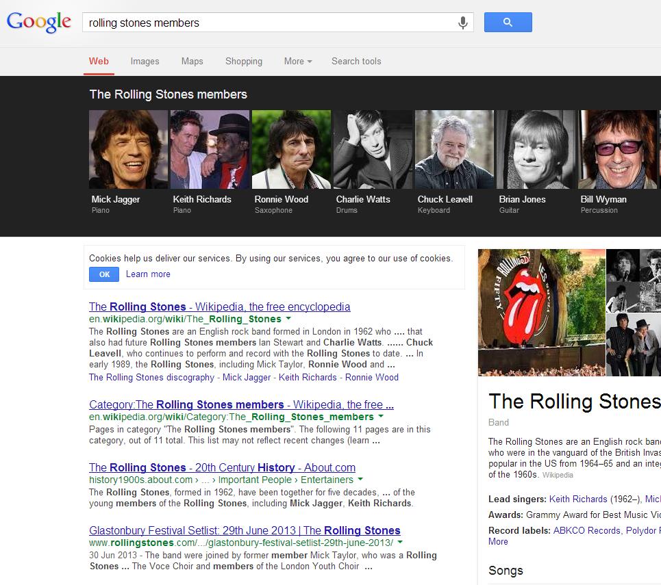 Google carousel entertainment example