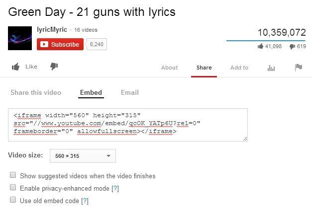 YouTube - embedding