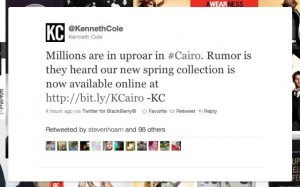 Kenneth cole, Twitter fail